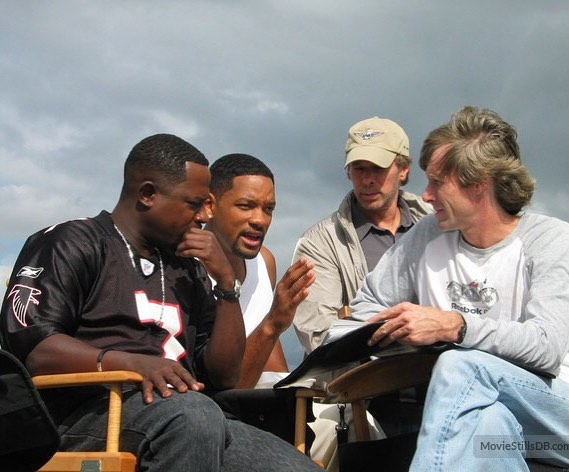 Will Smith with Martin Lawrence and Michael Bay behind the scenes of