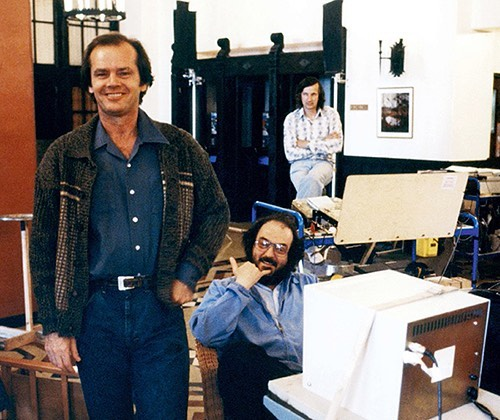 Jack Nicholson and Stanley Kubrick (doing a hang loose) behind the scenes of 'The Shining' (1980)