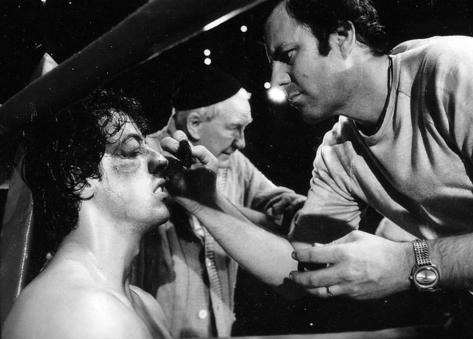 Make-up break for Sylvester Stallone while filming 'Rocky' (1976).