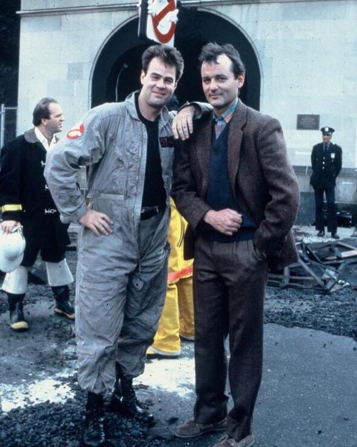 Bill Murray and Dan Aykroyd behind the scenes of 'Ghostbusters' (1984)