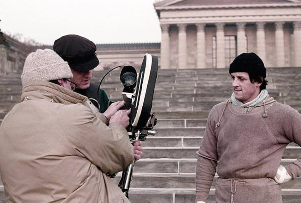 ehind the scenes: Sylvester Stallone shooting 'Rocky' (1976) at the steps of Philadelphia Museum of art. The movie won 3 academy awards including Best Picture