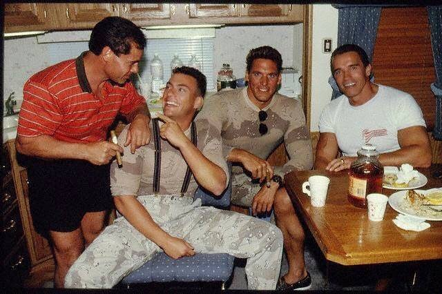 Arnold Schwarzenegger visits the set of 'Universal Soldier' (1992) with Jean-Claude Van Damme and Frank Columbu