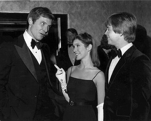 Harrison Ford, Carrie Fisher, and Mark Hamill at the 1977 Star Wars premiere