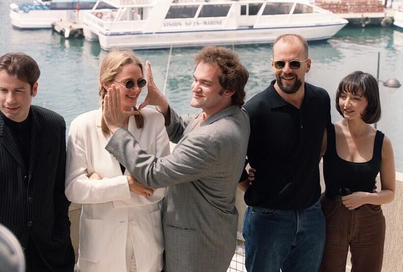 Quentin Tarantino and the cast of Pulp Fiction (John Travolta, Uma Thurman, Bruce Willis and Maria de Medeiros) at the 1994 Cannes Film Festival