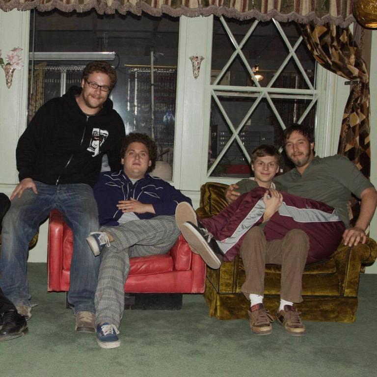 Behind the scenes photo of Michael Cera, Seth Rogen, Jonah Hill & Evan Goldberg on the set of