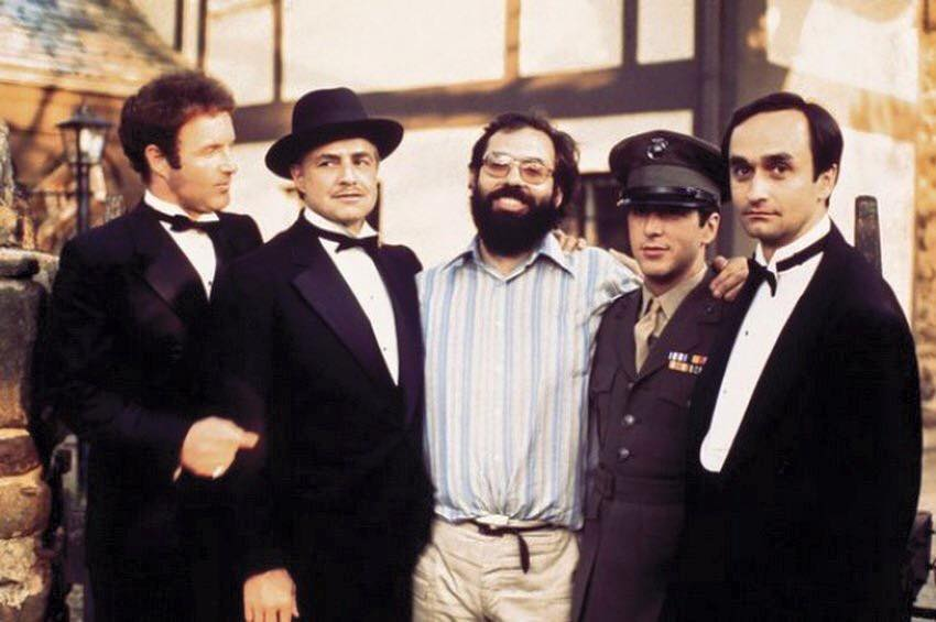 James Caan, Marlon Brando, Francis F. Coppola, Al Pacino and John Cazale on 'The Godfather' set, 1972