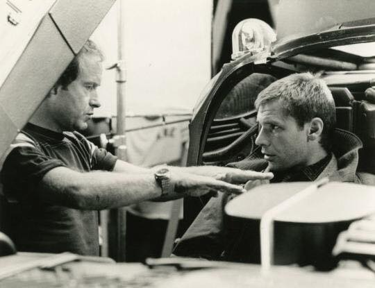 Ridley Scott and Harrison Ford on the set of 'Blade Runner' (1982)