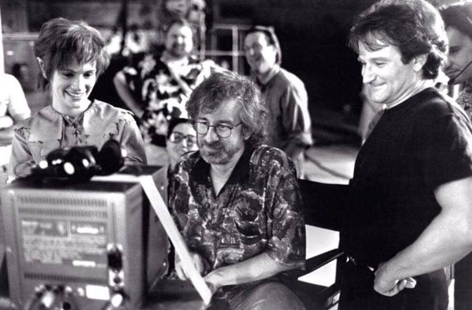 Julia Roberts, Steven Spielberg, and Robin Williams on the set of Hook (1991)