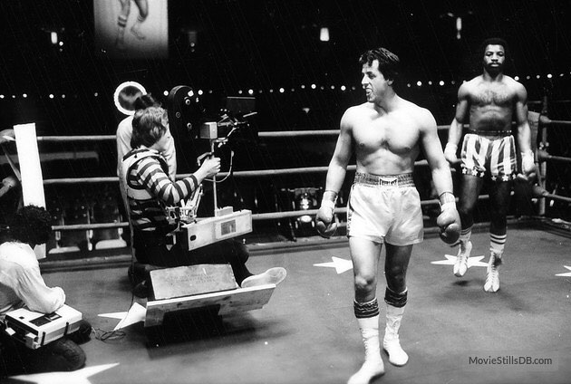 Behind the scenes: Sylvester Stallone and Carl Weathers prepare for fight scene in