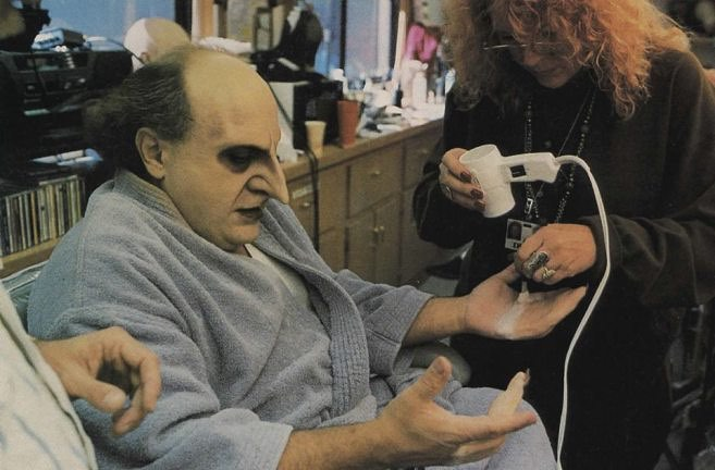 Danny DeVito during the makeup session for his role as Oswald Cobblepot, the Penguim in Tim Burton's 'Batman Returns' (1992)