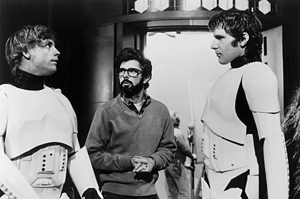 Behind the scenes of the 'Star Wars' (1977). George Lucas, Harrison Ford and Mark Hamill.