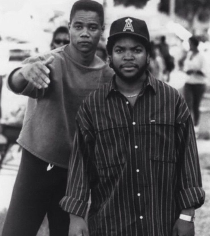 Cuba Gooding, Jr. and Ice Cube during the production of
