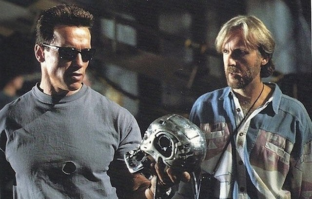 "Behind the scenes: Arnold Schwarzenegger and James Cameron while shooting ""Terminator 2: Judgement Day"" (1991)"