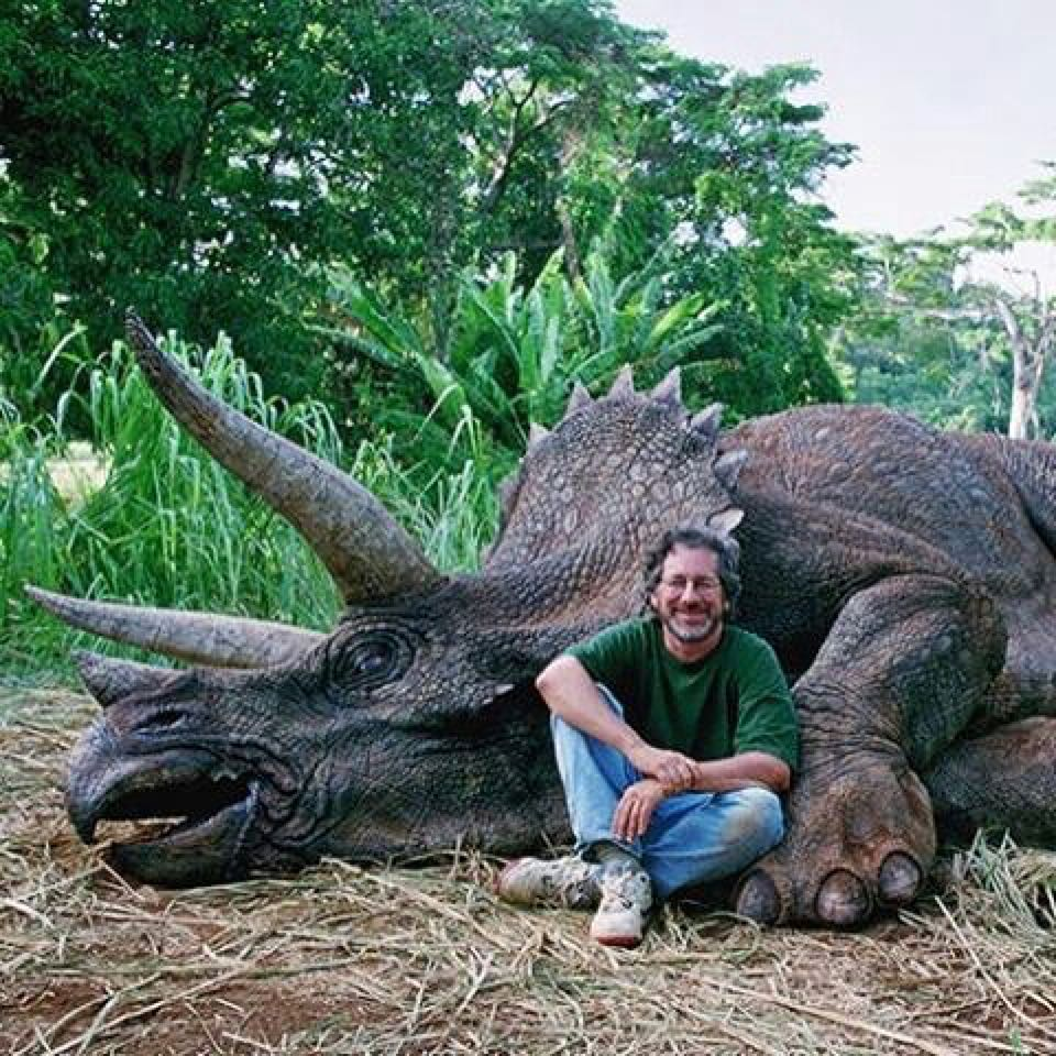 "Steven Spielberg on the set of ""Jurassic Park"" (1993)"
