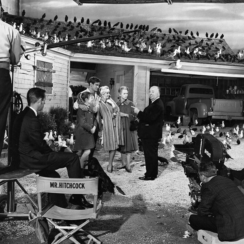 Alfred Hitchcock, Rod Taylor, Tippi Hedren, Jessica Tandy, and Veronica Cartwright during production of 'The Birds' (1963)
