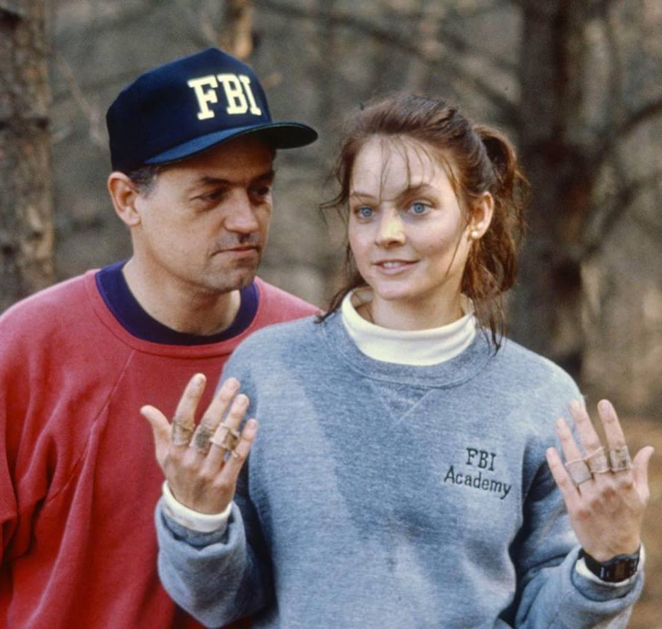 Director Jonathan Demme and Jodie Foster during production of 'The Silence of the Lambs' (1991)