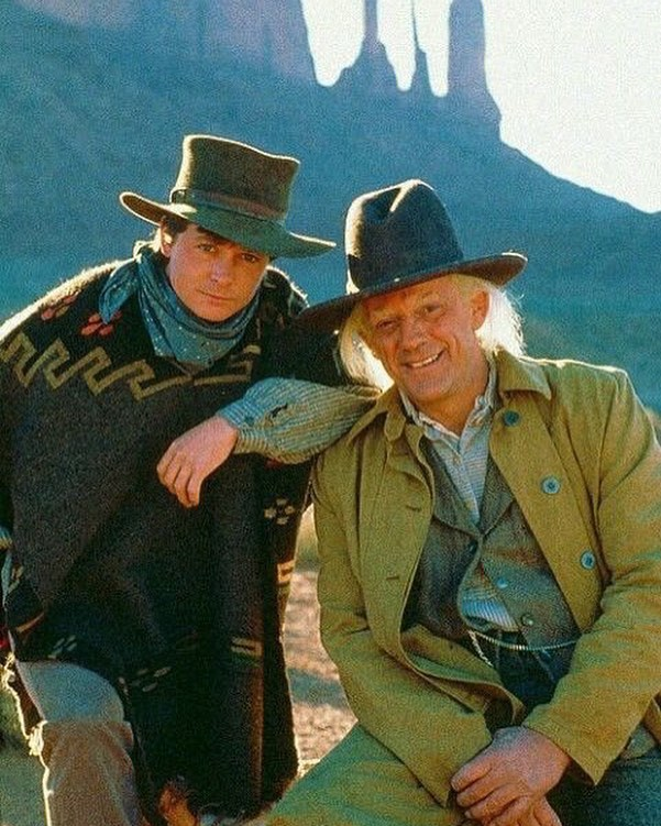 Michael J. Fox and Christopher Lloyd on the set of 'Back to the Future Part III' (1990)
