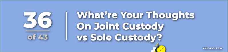 Joint Custody - Sole Custody - Legal Custody - Full Custody - questions to ask a lawyer when getting a divorce