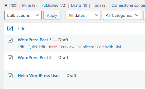Select All Posts - How to Delete WordPress Posts in Bulk