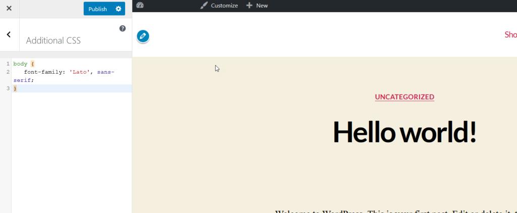 Additional CSS - google fonts on wordpress