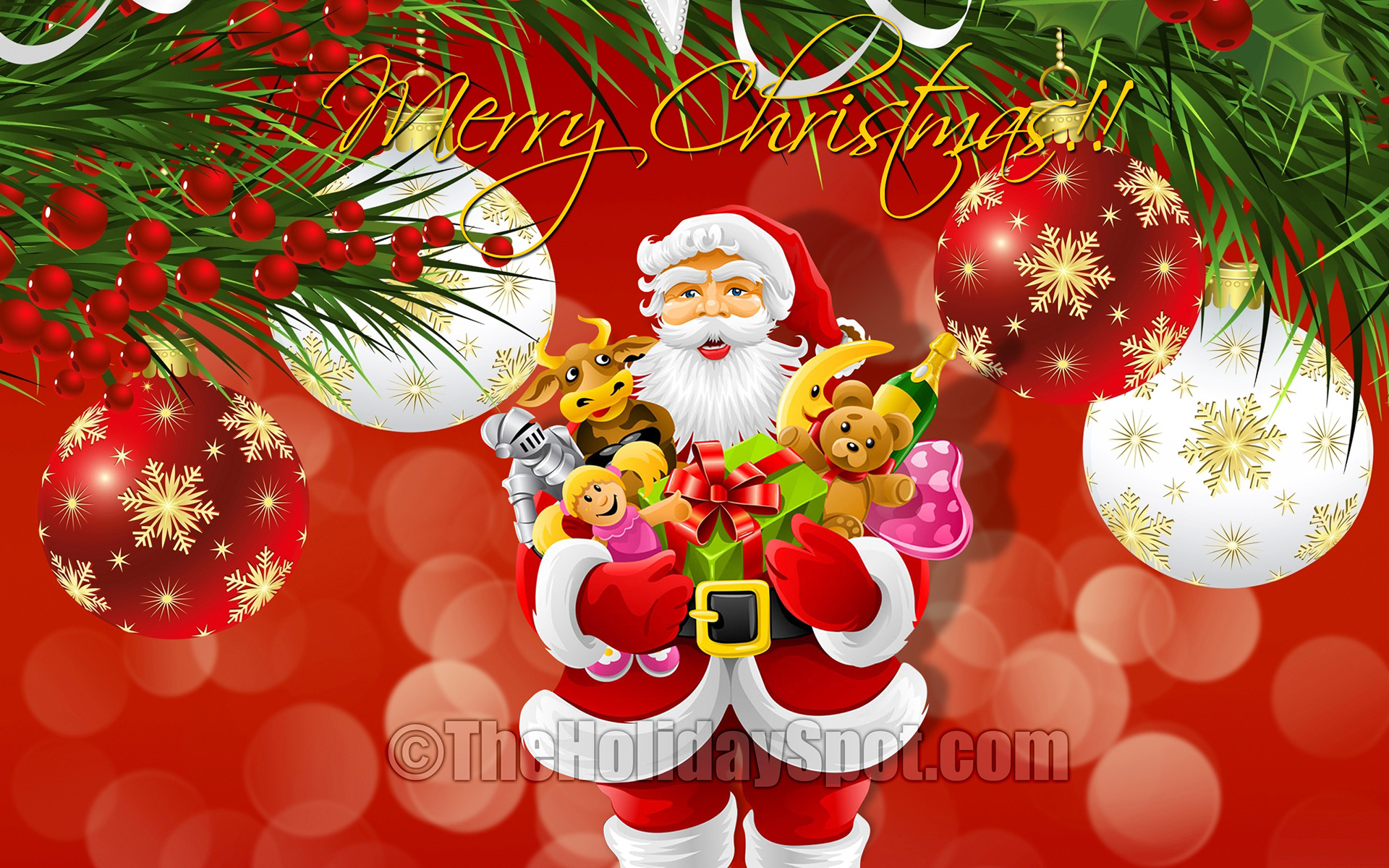 Free Christmas wallpapers   Download HD wallpaper Santa with Toys in Christmas Wallpaper