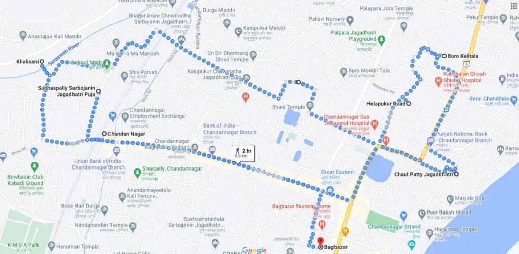Chandannagar jagadhatri puja map