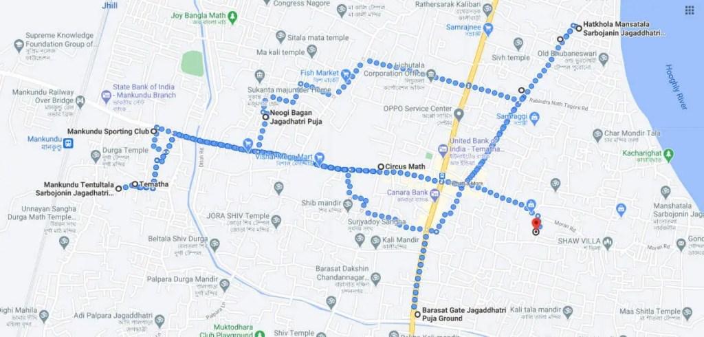 Mankundu to chandannagar jagadhatri puja map
