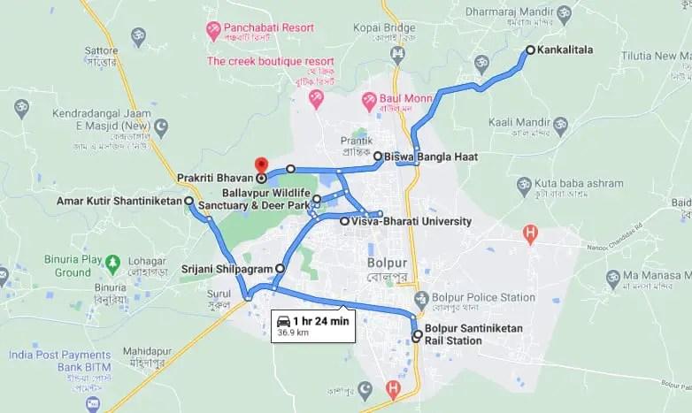 Bolpur santiniketan tour map 2