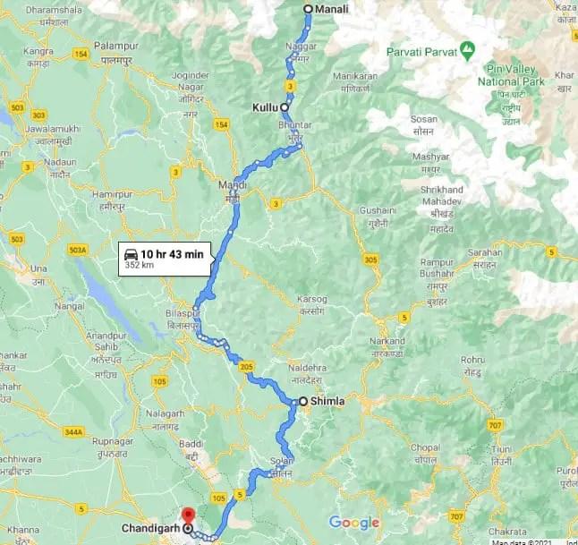 Shimla Kullu Manali chandigarh route map