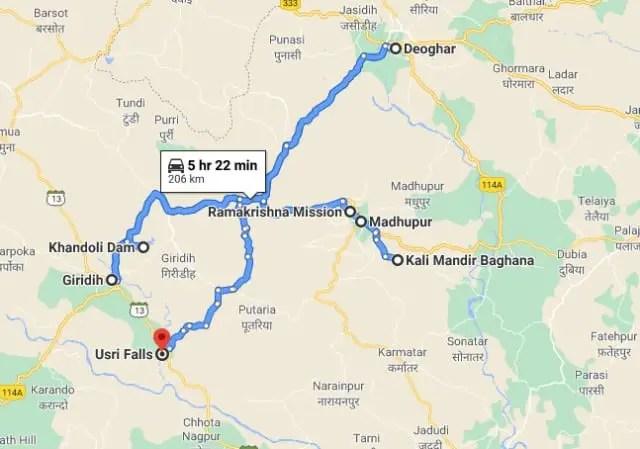 deoghar madhupur tour map