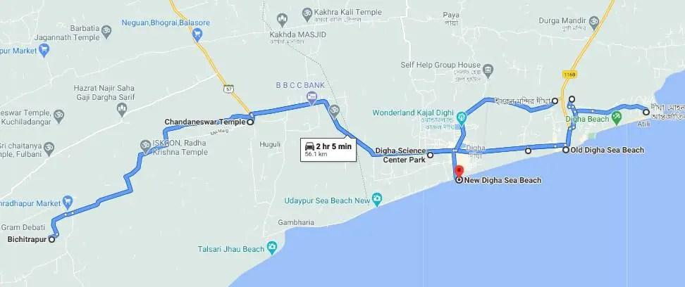 Digha Udaypur sea beach map