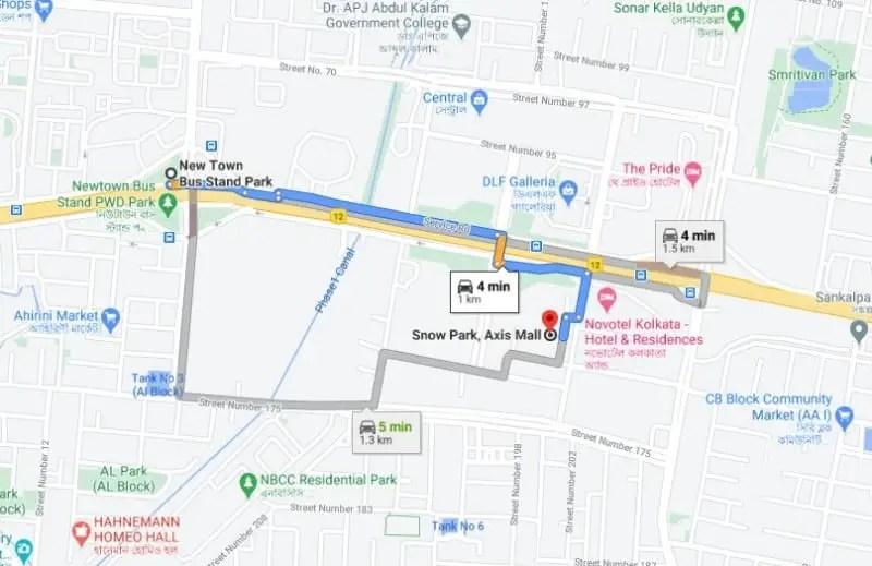 axis mall snow park map