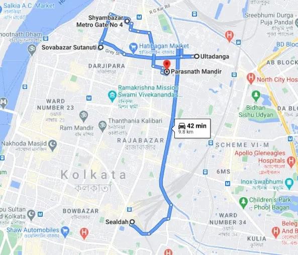 Pareshnath temple Kolkata map