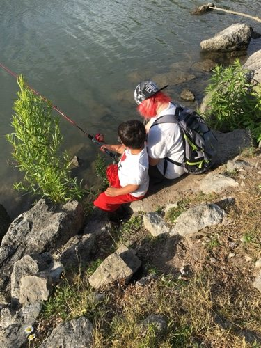 Kiersten and Zack fishing in North Tonawanda, NY