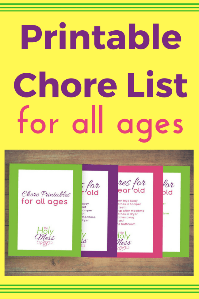 Printable Chore List for All Ages|The Holy Mess