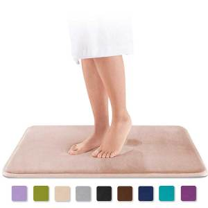 Genteele - Non Slip Absorbent Super Cozy Velvet Bathroom Rugs Carpet