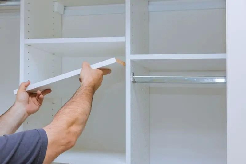 Assembling shelves for closet cabinet