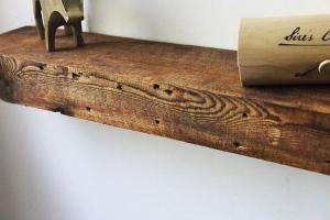 ParkCo Rustic Fireplace Mantel Floating Wood Shelf