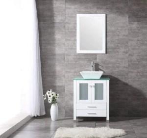 "BATHJOY 24"" Wood Cabinet Vanity White - Best Quality Small Bathroom Vanity"