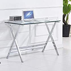 Tempered Glass Home Office Desk for Small Spaces