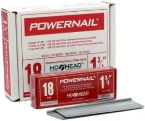 Powernail 18ga L Cleat Flooring Nails for 3/4 Hardwood Flooring