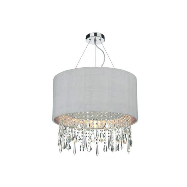 Light Shade Studio Lizard Ceiling Pendant Light In Chrome With     Lizard Ceiling Pendant Light In Chrome With Silver Grey Silk Shade  LIZ0139 SI