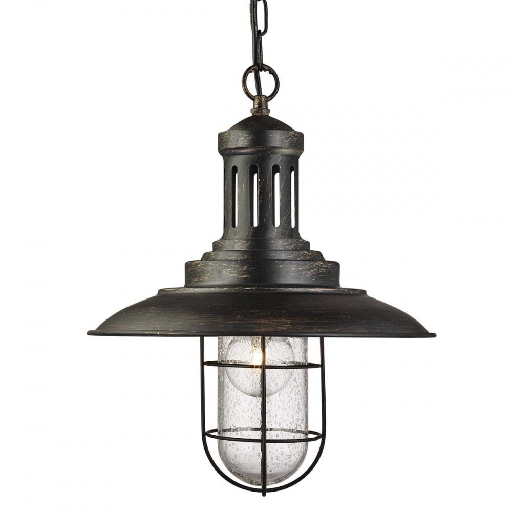 searchlight fisherman ceiling pendant light in black gold finish with seeded glass 5401bg