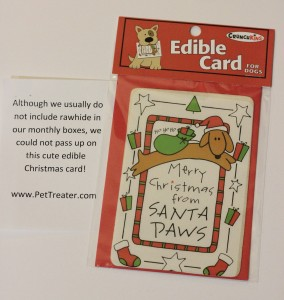 Rawhide Card from December Pet Treater Box - The Homespun Chics