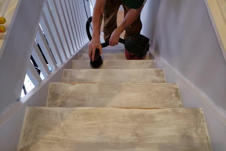 Painted Stair Risers And Treads The Homestud | Distressed Wood Stair Treads | Oak Stair | Bullnose Manufacturing | Straight Edge Wood | White Oak | Heavy Timber Stair