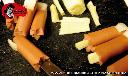 Step Four | Finger Food (Zombie Style or Freshly Severed) | The Homicidal Homemaker | zombie food ideas, zombie party food, zombie food, zombie recipes