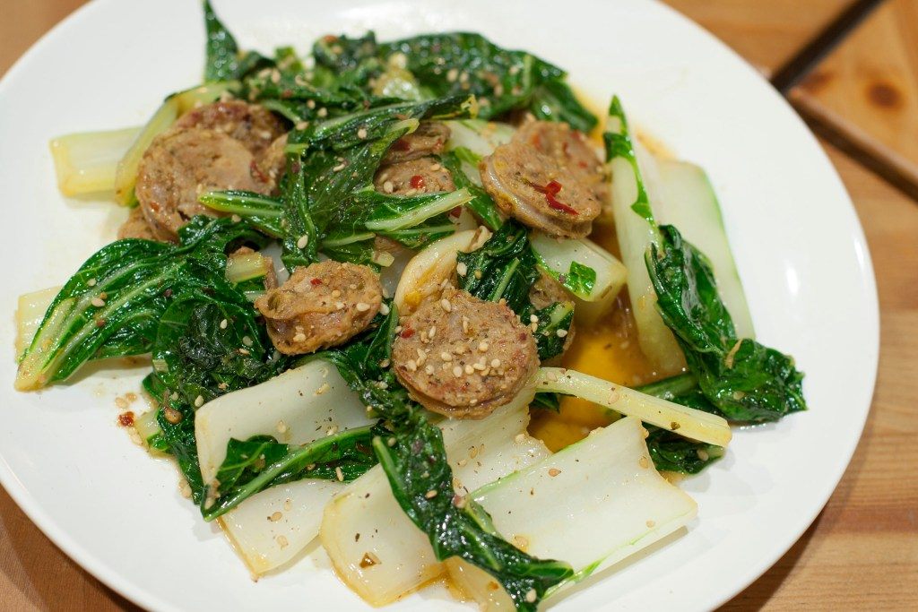 thai-sausage-and-bok-choy