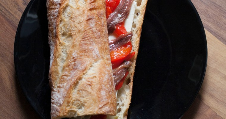 Anchovy and Roasted Pepper Bocadillo