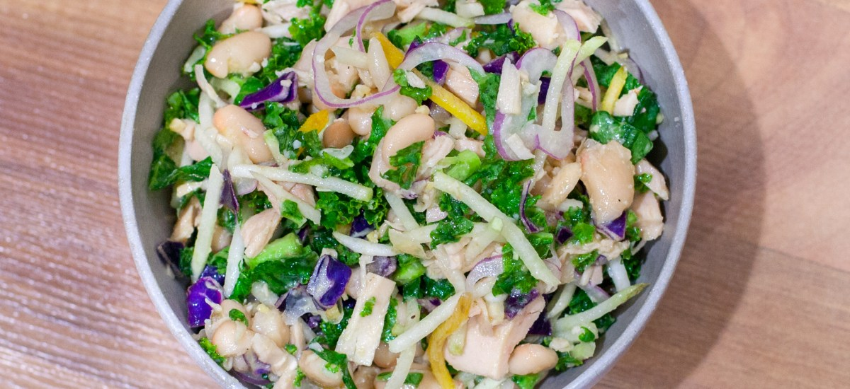 Kohlrabi Slaw with Tuna, White Beans, and Maple-Miso Dressing