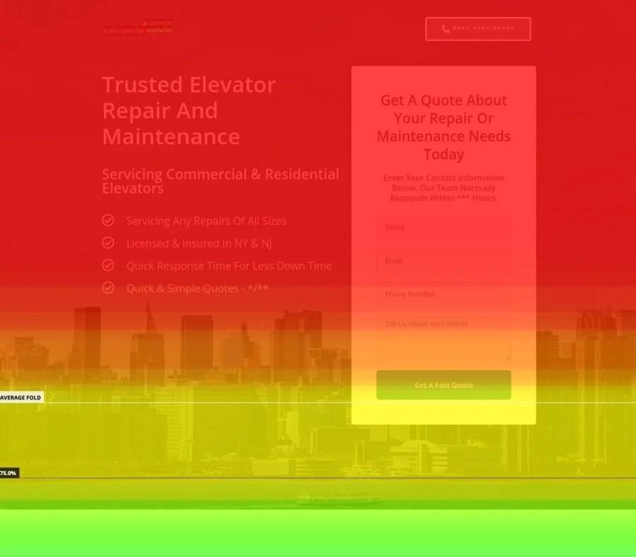 The homepage heatmap of an elevator repair company.
